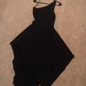 One shoulder black dress from Express.